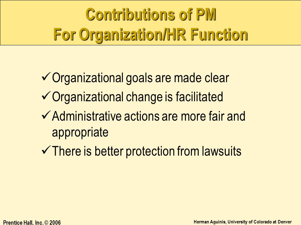 Contributions of PM For Organization/HR Function