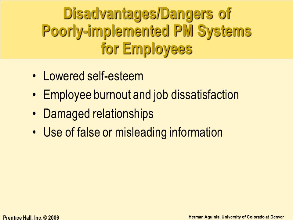 Disadvantages/Dangers of Poorly-implemented PM Systems for Employees