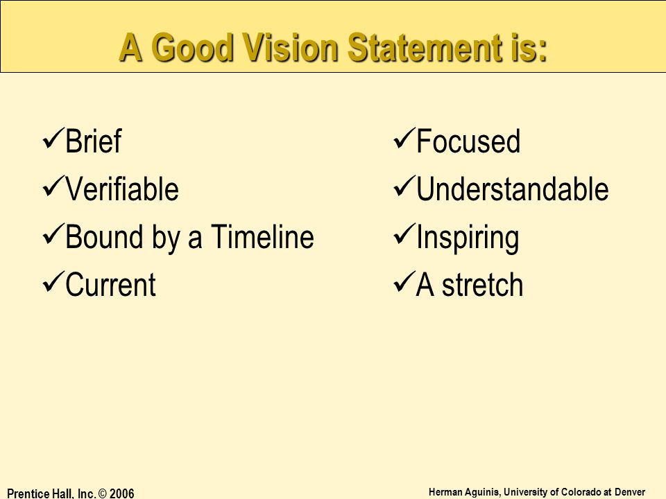 A Good Vision Statement is: