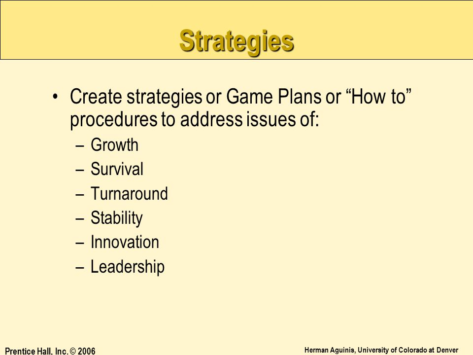 Strategies Create strategies or Game Plans or How to procedures to address issues of: Growth. Survival.