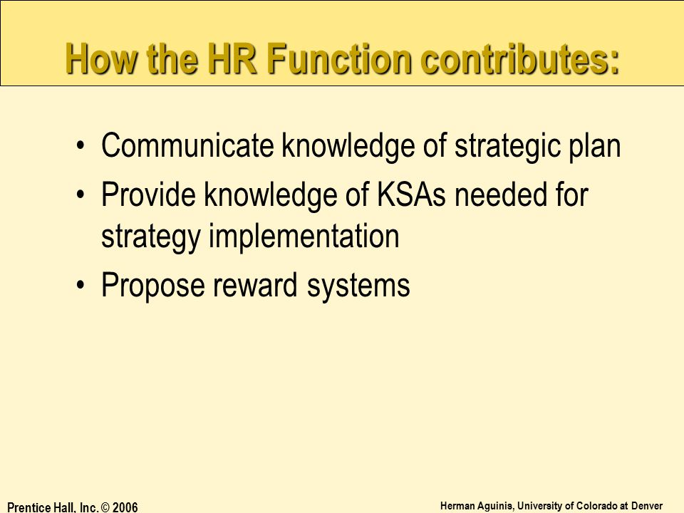 How the HR Function contributes: