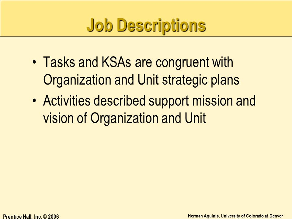 Job Descriptions Tasks and KSAs are congruent with Organization and Unit strategic plans.