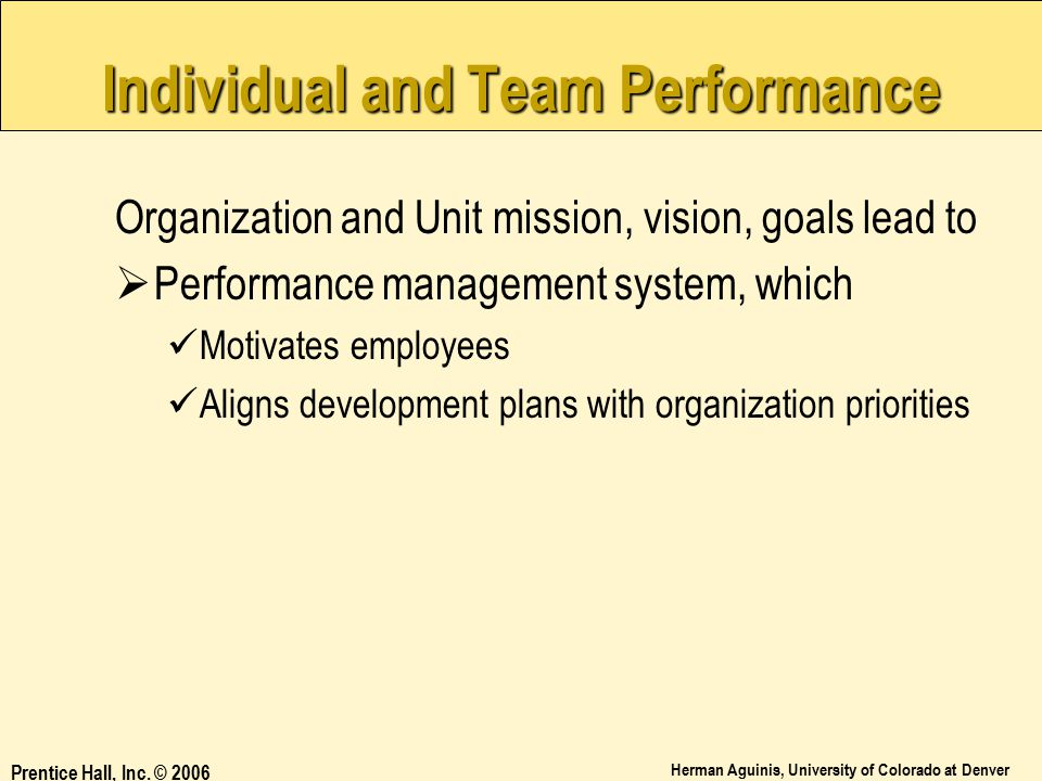 Individual and Team Performance