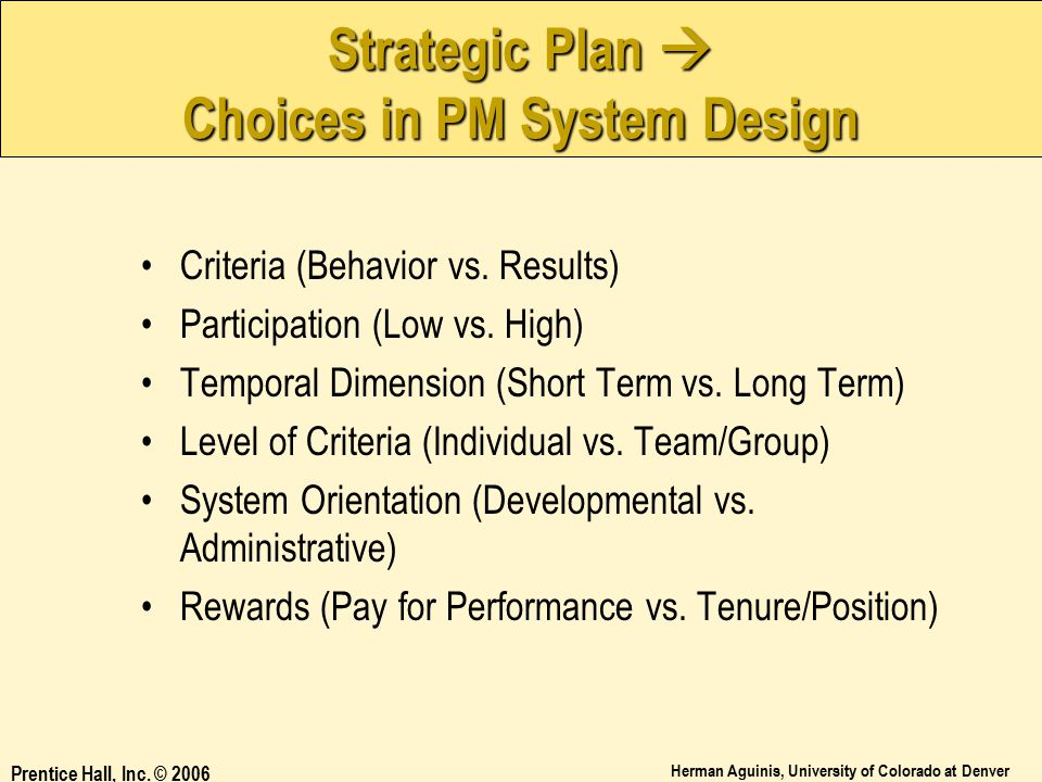 Strategic Plan  Choices in PM System Design