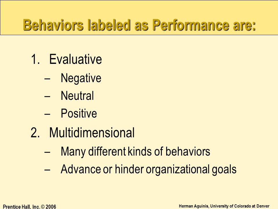 Behaviors labeled as Performance are:
