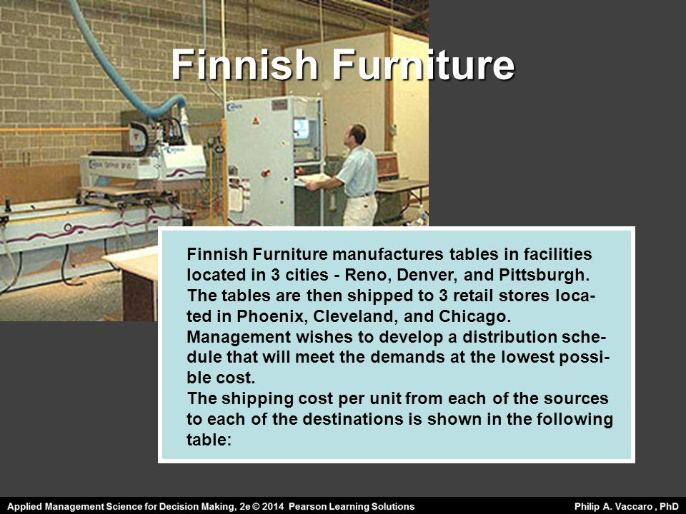 Finnish Furniture Finnish Furniture manufactures tables in facilities