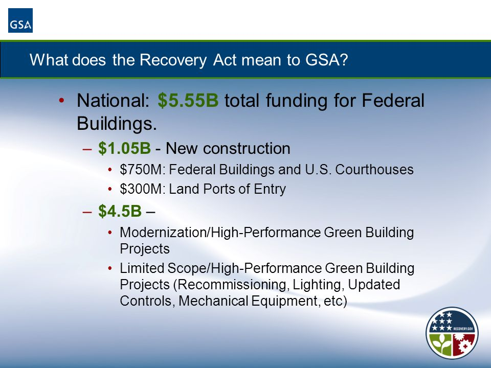 What does the Recovery Act mean to GSA