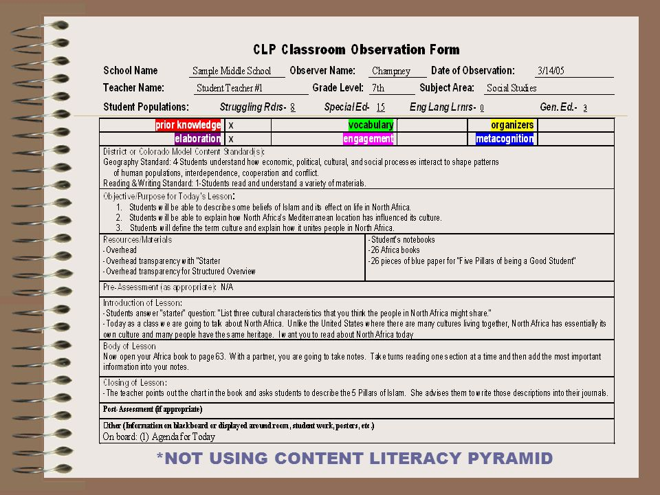 *NOT USING CONTENT LITERACY PYRAMID
