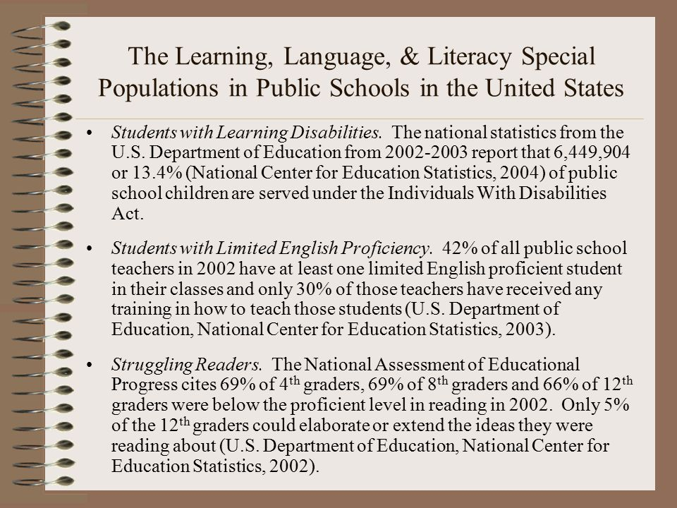 The Learning, Language, & Literacy Special Populations in Public Schools in the United States