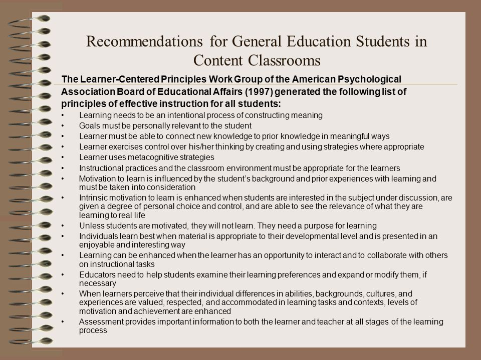 Recommendations for General Education Students in Content Classrooms