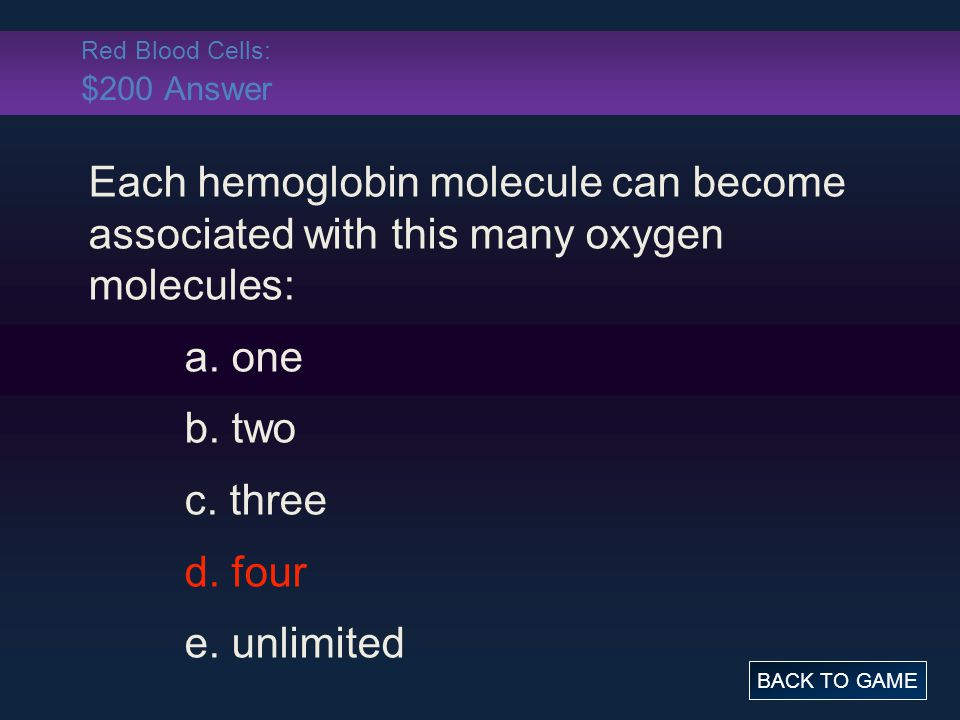 Red Blood Cells: $200 Answer
