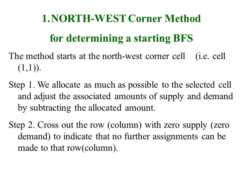 NORTH-WEST Corner Method for determining a starting BFS