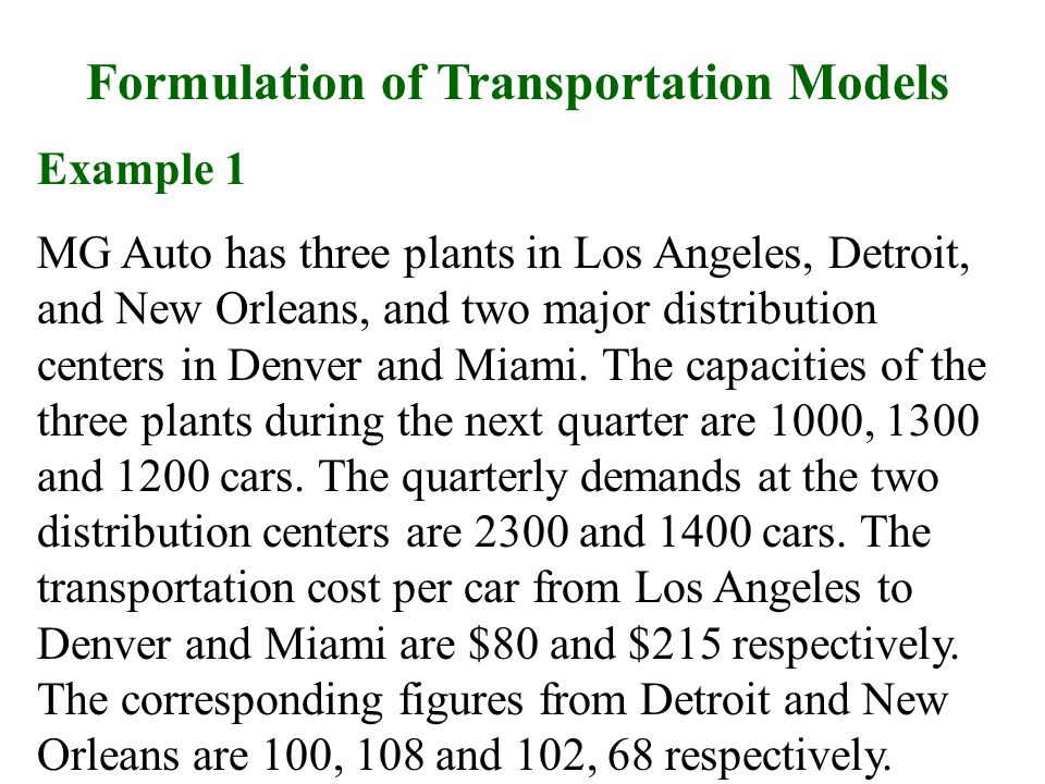 Formulation of Transportation Models
