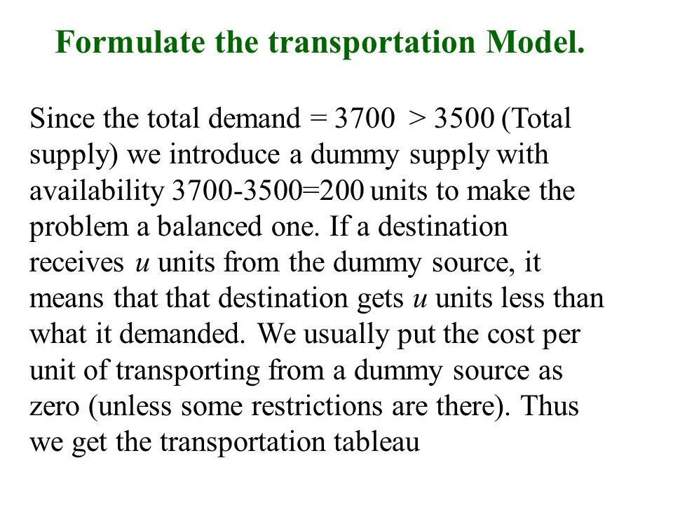Formulate the transportation Model.
