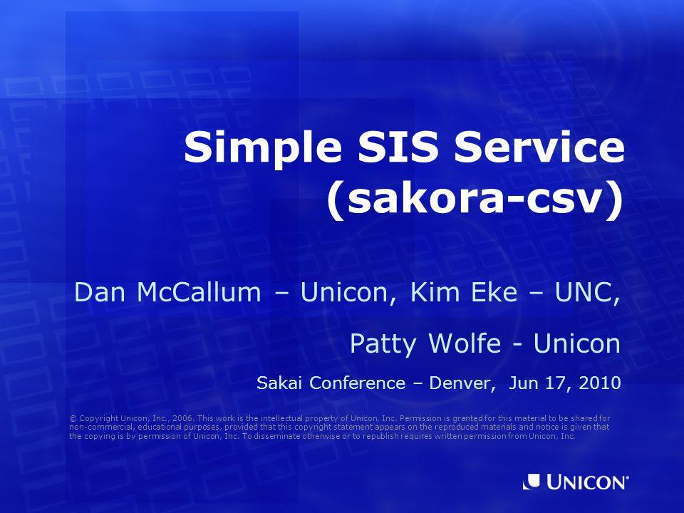 Simple SIS Service (sakora-csv)