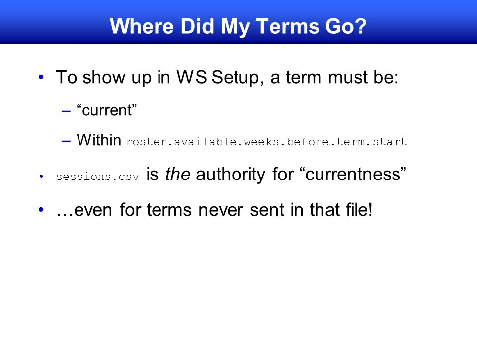Where Did My Terms Go To show up in WS Setup, a term must be: