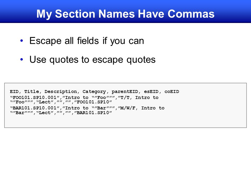 My Section Names Have Commas