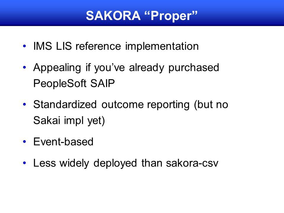 SAKORA Proper IMS LIS reference implementation