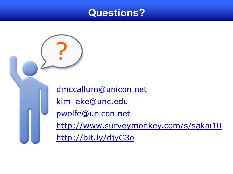 Questions dmccallum@unicon.net kim_eke@unc.edu pwolfe@unicon.net