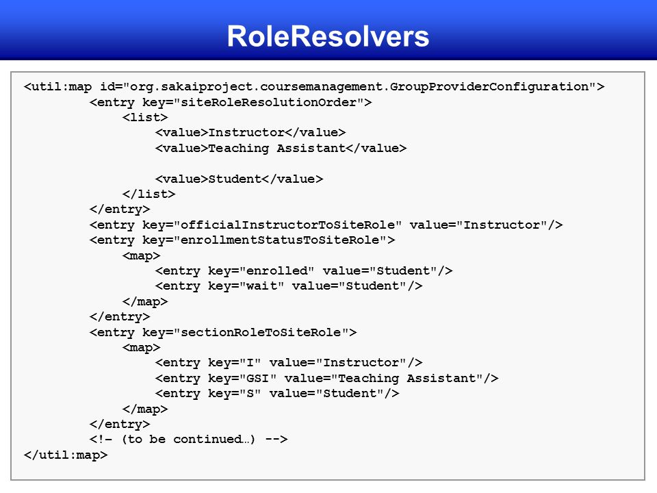 RoleResolvers <util:map id= org.sakaiproject.coursemanagement.GroupProviderConfiguration > <entry key= siteRoleResolutionOrder >