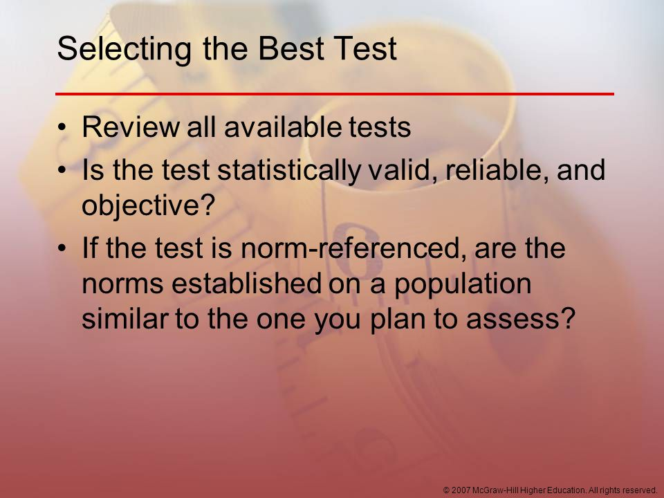 Selecting the Best Test