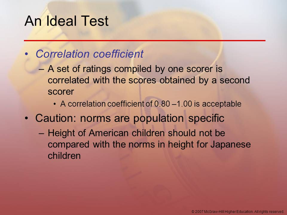 An Ideal Test Correlation coefficient