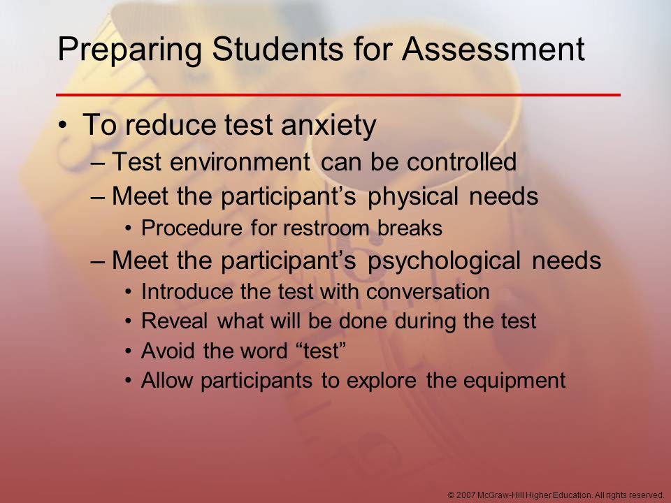 Preparing Students for Assessment