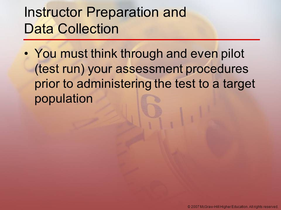 Instructor Preparation and Data Collection