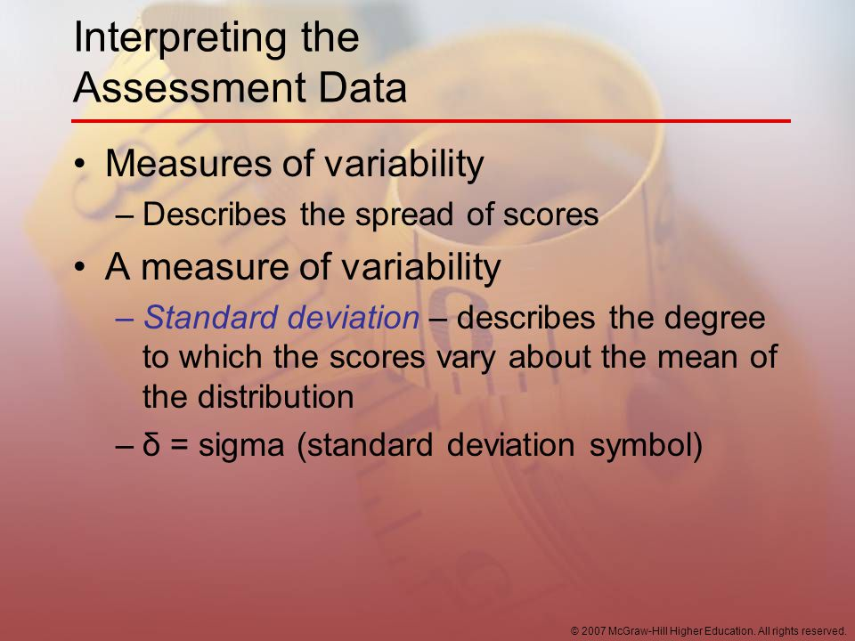 Interpreting the Assessment Data