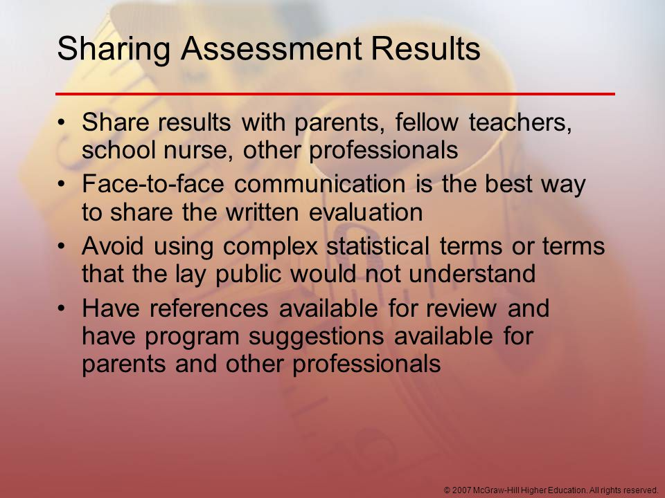 Sharing Assessment Results