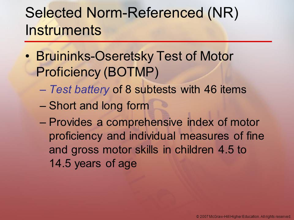 Selected Norm-Referenced (NR) Instruments