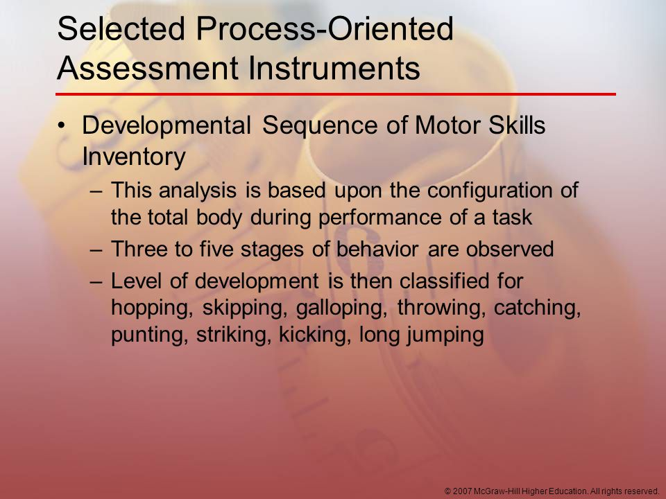 Selected Process-Oriented Assessment Instruments