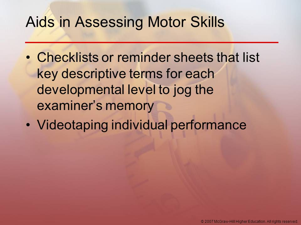 Aids in Assessing Motor Skills