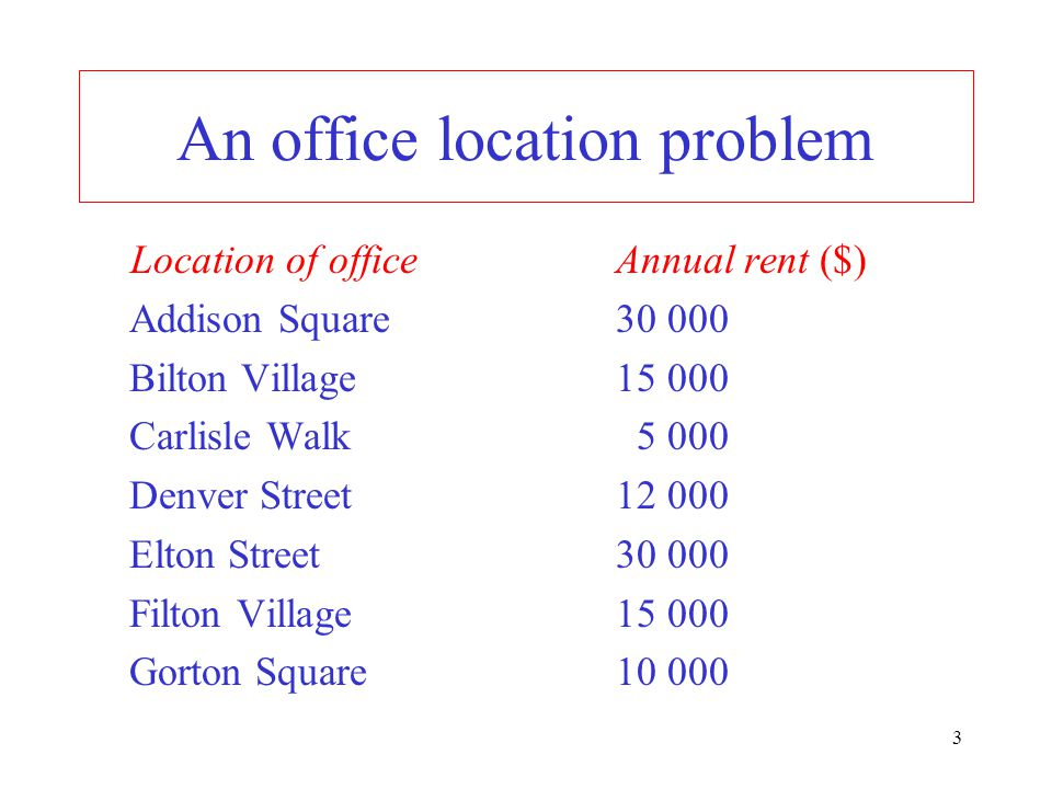 An office location problem