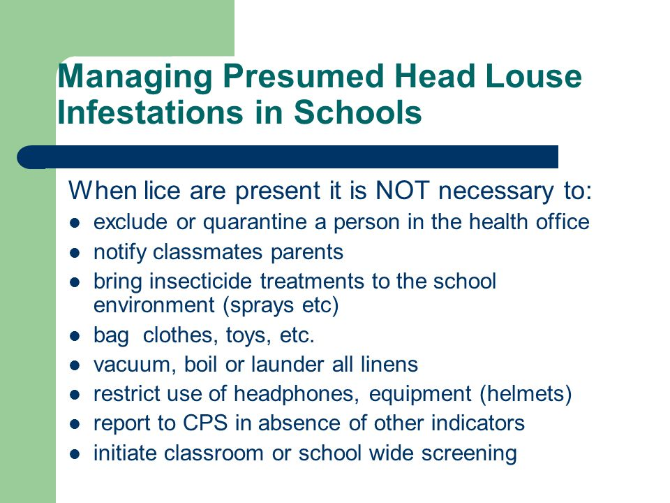 Managing Presumed Head Louse Infestations in Schools