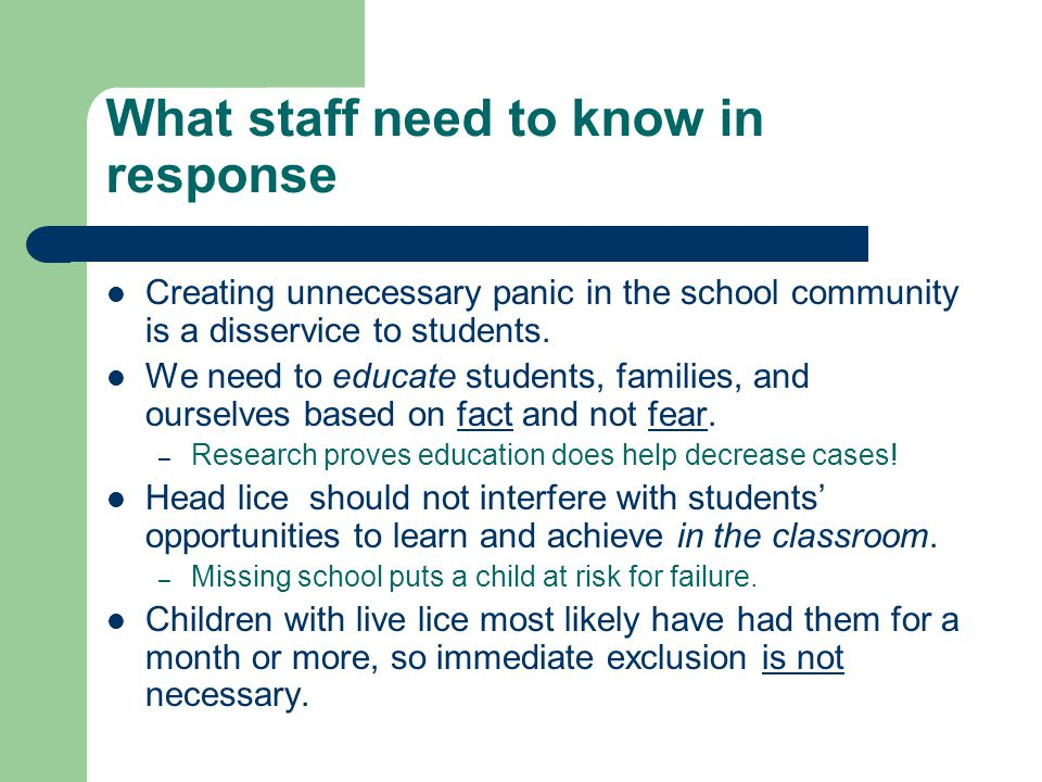What staff need to know in response