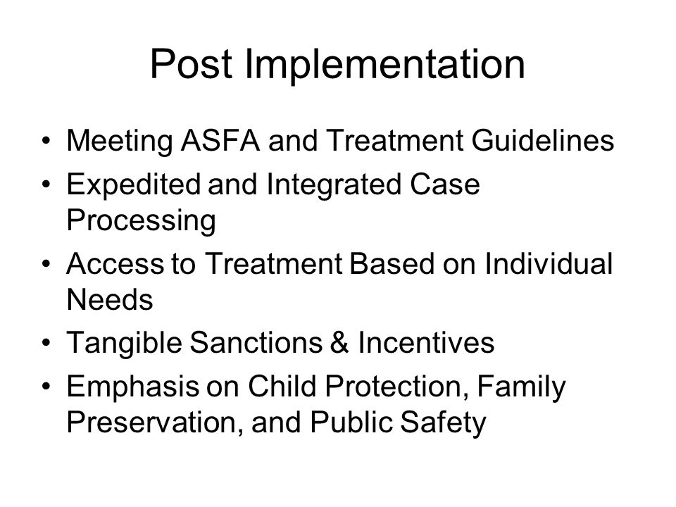 Post Implementation Meeting ASFA and Treatment Guidelines