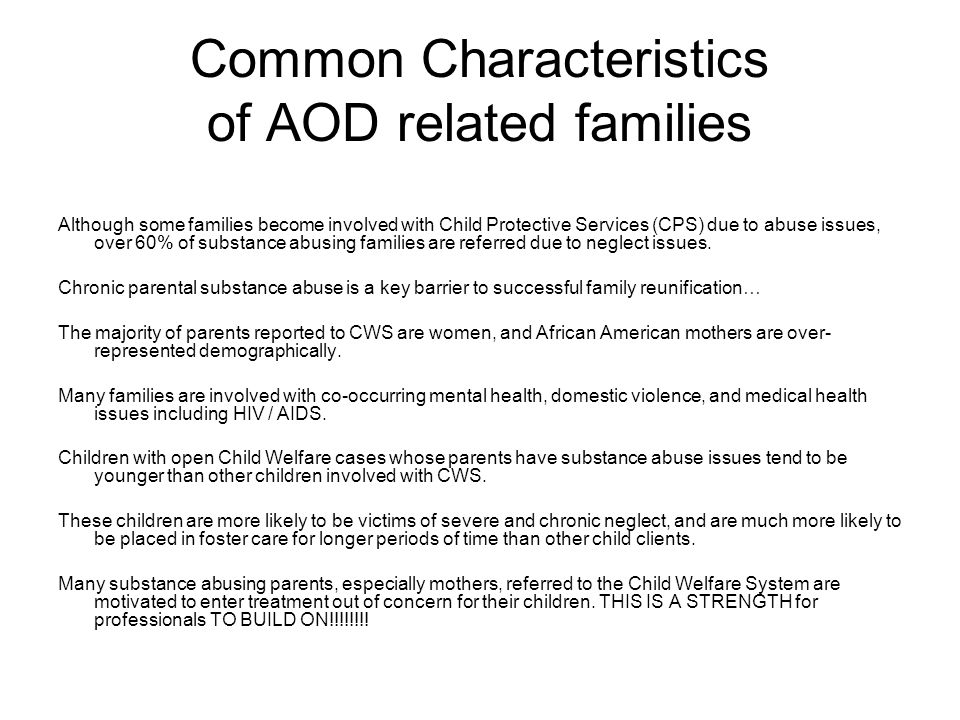 Common Characteristics of AOD related families