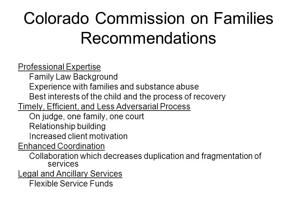 Colorado Commission on Families Recommendations