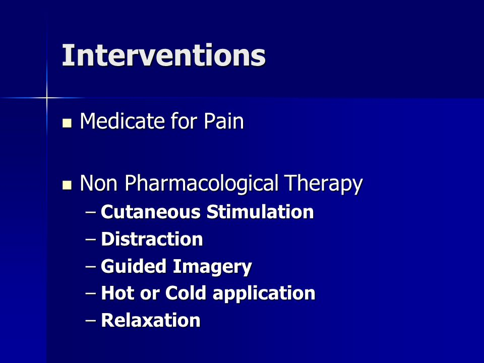 Interventions Medicate for Pain Non Pharmacological Therapy