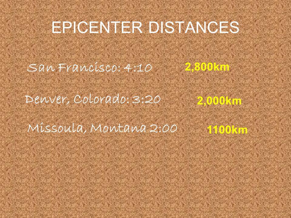 EPICENTER DISTANCES San Francisco: 4:10 Denver, Colorado: 3:20