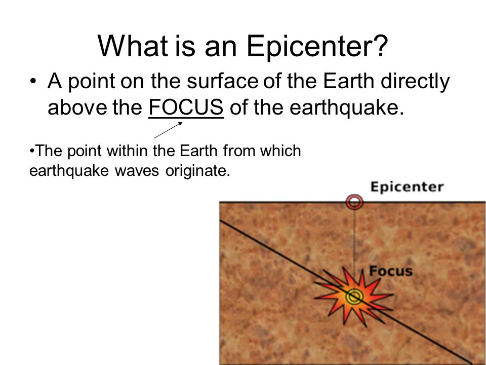What is an Epicenter A point on the surface of the Earth directly above the FOCUS of the earthquake.