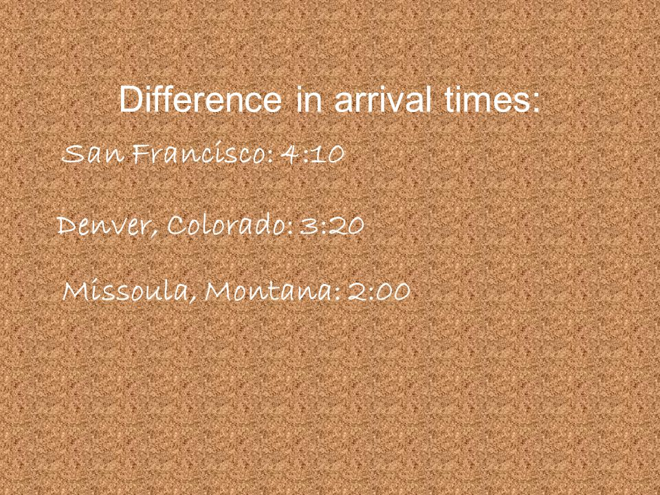 Difference in arrival times: