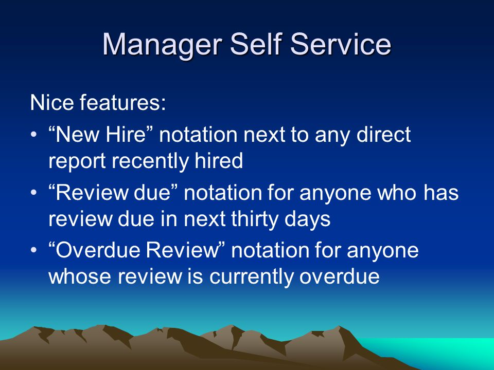 Manager Self Service Nice features: