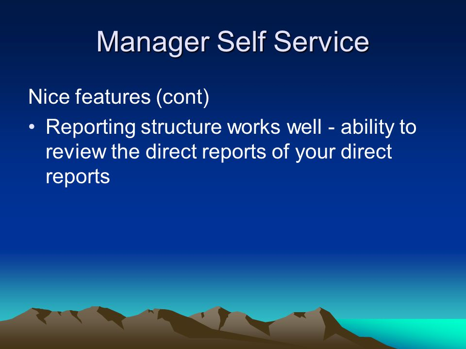 Manager Self Service Nice features (cont)
