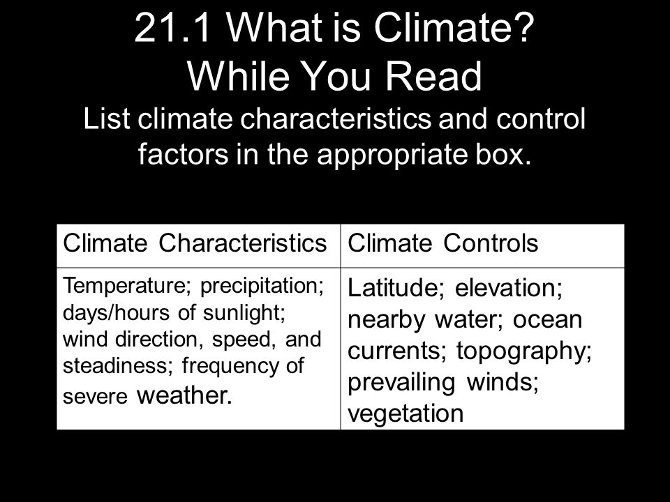 21.1 What is Climate While You Read List climate characteristics and control factors in the appropriate box.