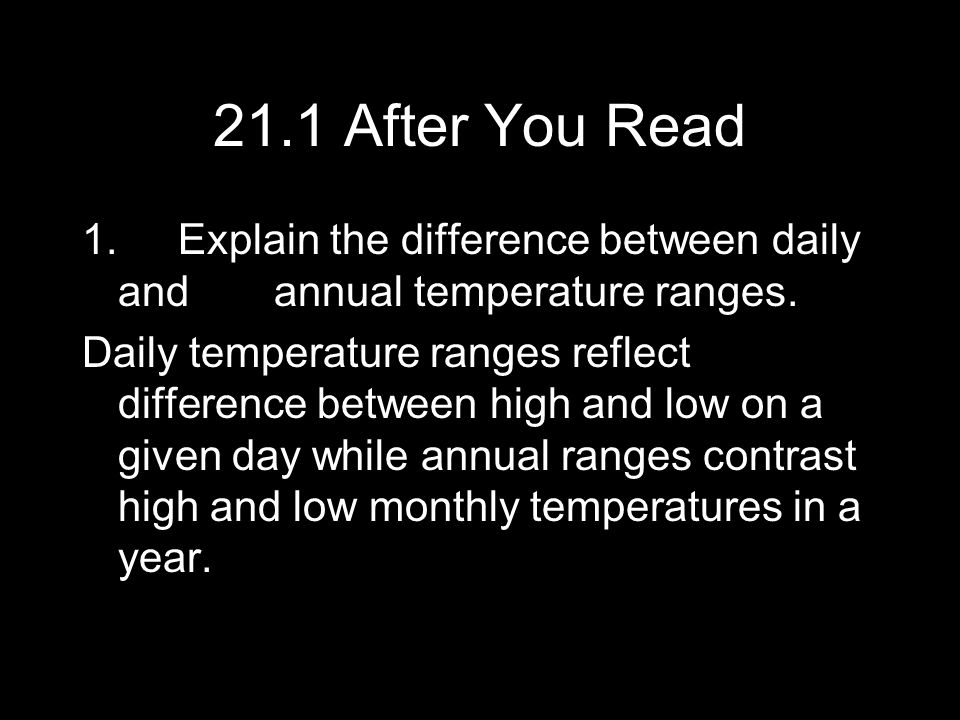 21.1 After You Read 1. Explain the difference between daily and annual temperature ranges.