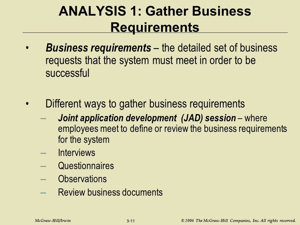 ANALYSIS 1: Gather Business Requirements