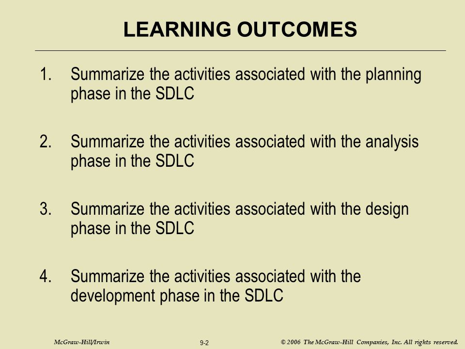 LEARNING OUTCOMES Summarize the activities associated with the planning phase in the SDLC.