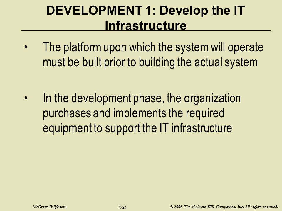 DEVELOPMENT 1: Develop the IT Infrastructure